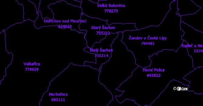 Katastrální mapa Malý Šachov - přehledová mapa katastrálního území