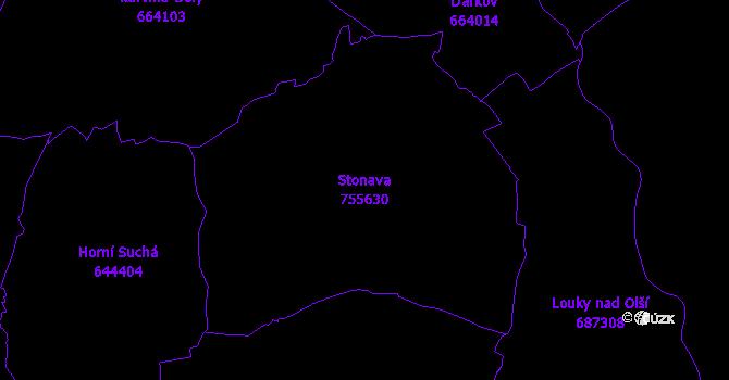 Katastrální mapa Stonava - přehledová mapa katastrálního území