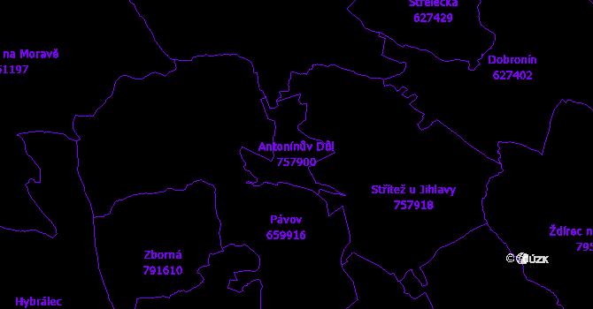 Katastrální mapa Antonínův Důl - přehledová mapa katastrálního území