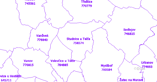 Katastrální mapa Studnice u Telče - přehledová mapa katastrálního území
