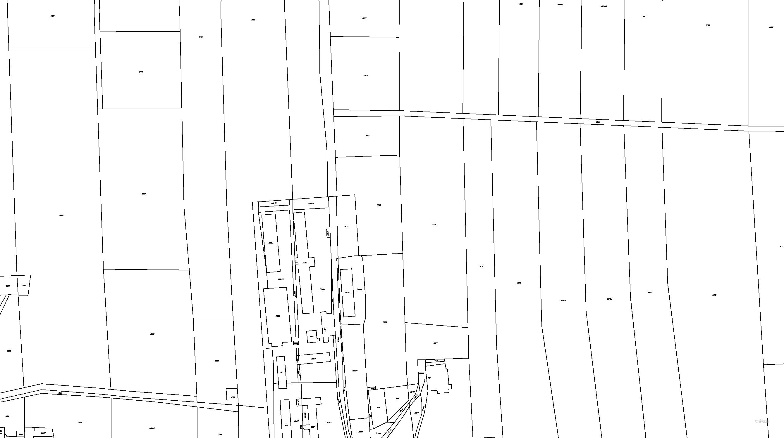 Katastrální mapa pozemků a čísla parcel Suchdol nad Lužnicí