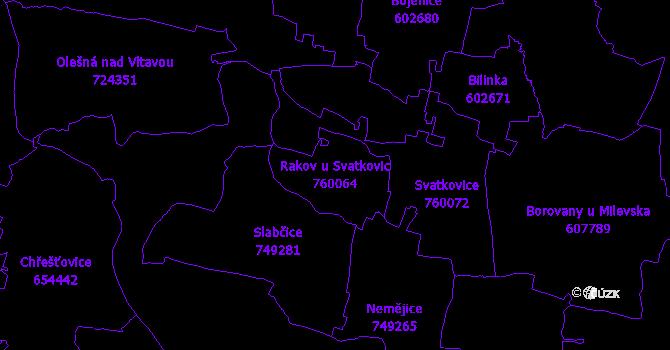 Katastrální mapa Rakov u Svatkovic - přehledová mapa katastrálního území