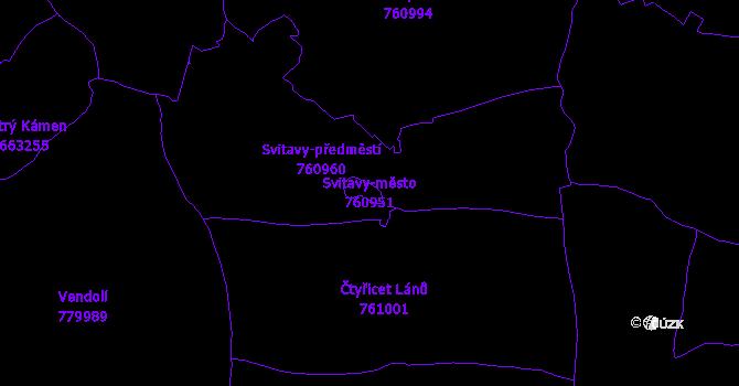Katastrální mapa Svitavy-město - přehledová mapa katastrálního území