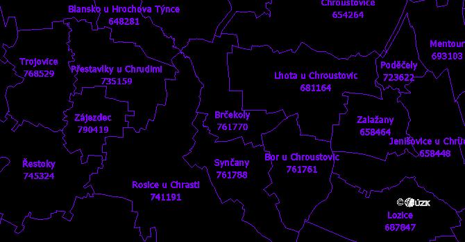 Katastrální mapa Brčekoly - přehledová mapa katastrálního území