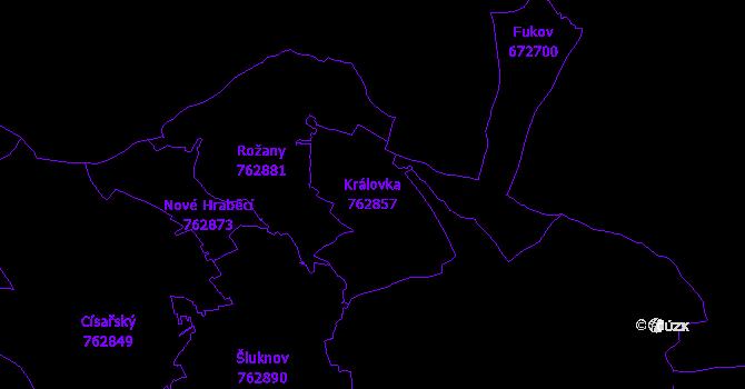 Katastrální mapa Královka - přehledová mapa katastrálního území