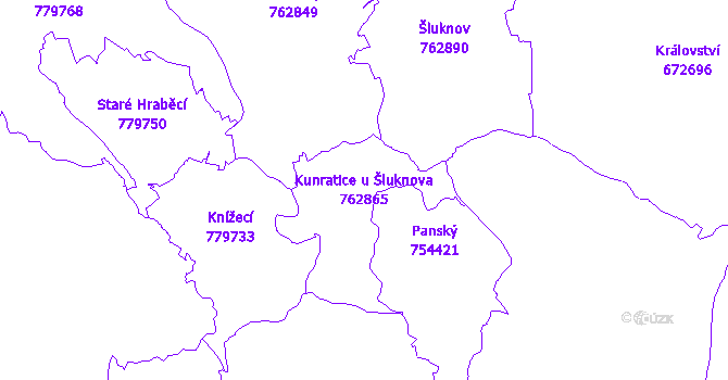 Katastrální mapa Kunratice u Šluknova - přehledová mapa katastrálního území