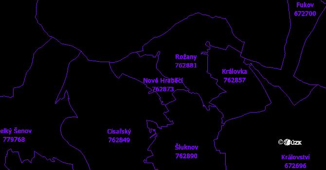Katastrální mapa Nové Hraběcí - přehledová mapa katastrálního území