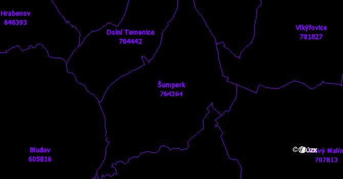 Katastrální mapa Šumperk - přehledová mapa katastrálního území