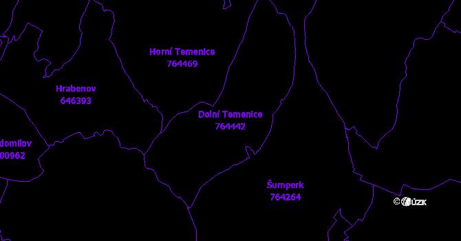 Katastrální mapa Dolní Temenice - přehledová mapa katastrálního území