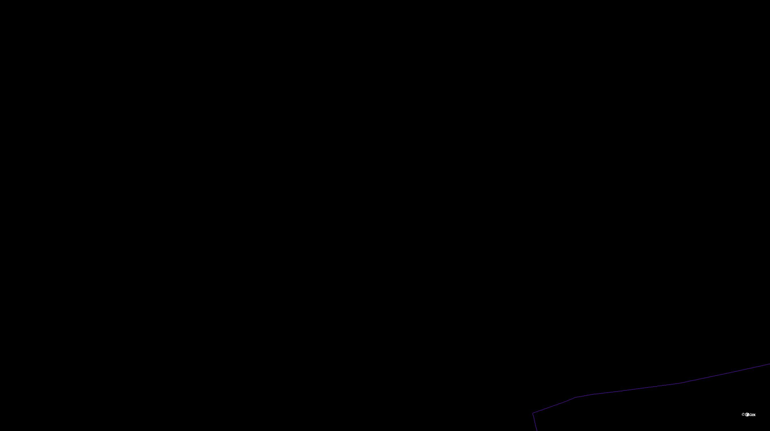 Katastrální mapa pozemků a čísla parcel Hnidousy