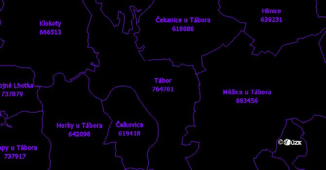 Katastrální mapa Tábor - přehledová mapa katastrálního území