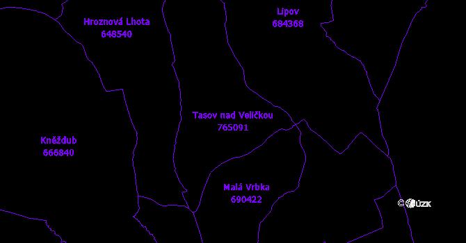 Katastrální mapa Tasov nad Veličkou - přehledová mapa katastrálního území
