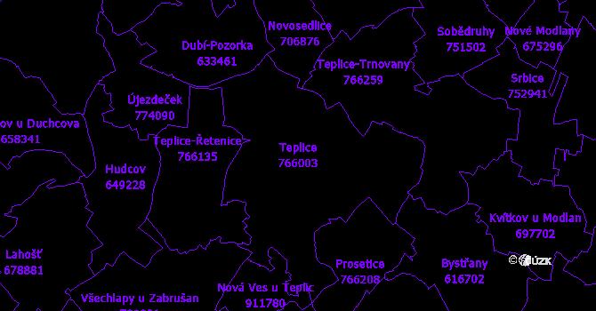 Katastrální mapa Teplice - přehledová mapa katastrálního území