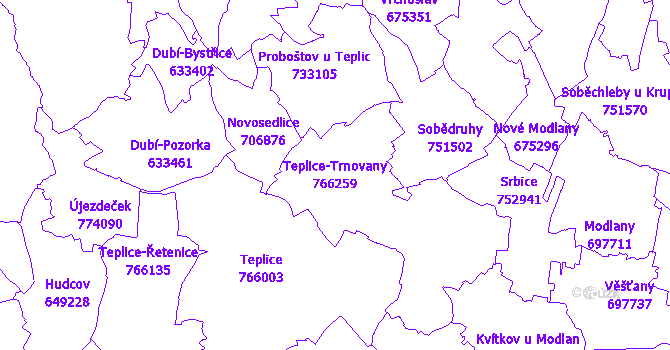 Katastrální mapa Teplice-Trnovany - přehledová mapa katastrálního území