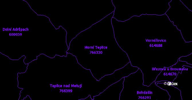 Katastrální mapa Horní Teplice - přehledová mapa katastrálního území