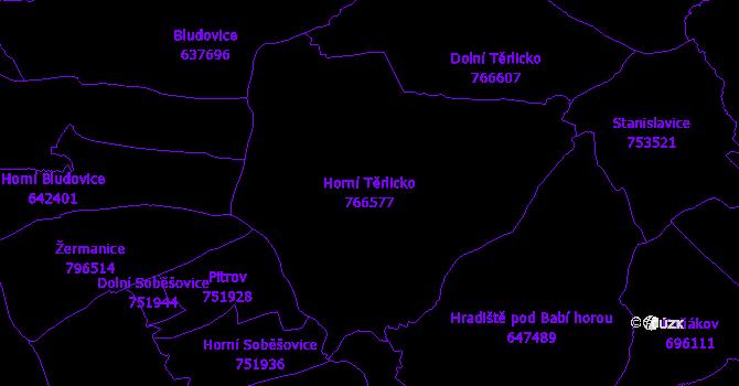 Katastrální mapa Horní Těrlicko - přehledová mapa katastrálního území