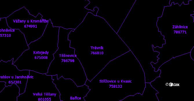Katastrální mapa Trávník - přehledová mapa katastrálního území