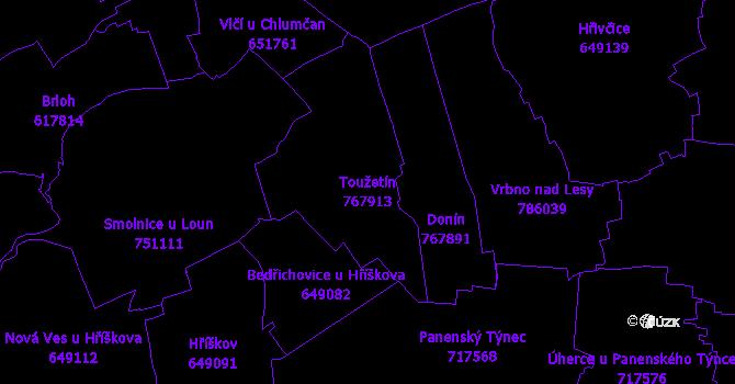 Katastrální mapa Toužetín - přehledová mapa katastrálního území