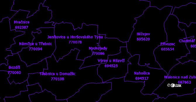 Katastrální mapa Mrchojedy - přehledová mapa katastrálního území