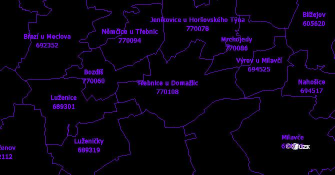 Katastrální mapa Třebnice u Domažlic - přehledová mapa katastrálního území