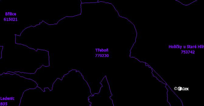 Katastrální mapa Třeboň - přehledová mapa katastrálního území