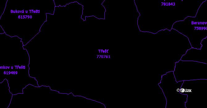 Katastrální mapa Třešť - přehledová mapa katastrálního území