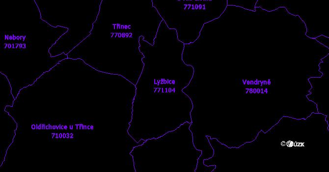 Katastrální mapa Lyžbice - přehledová mapa katastrálního území