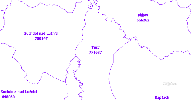 Katastrální mapa Tušť - přehledová mapa katastrálního území