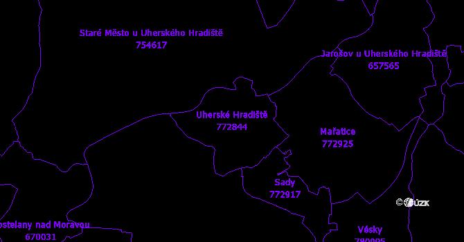Katastrální mapa Uherské Hradiště - přehledová mapa katastrálního území