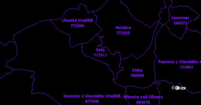 Katastrální mapa Sady - přehledová mapa katastrálního území