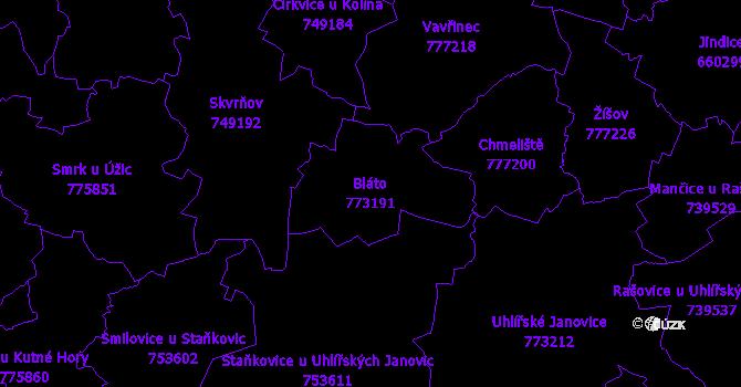 Katastrální mapa Bláto - přehledová mapa katastrálního území