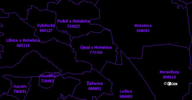 Katastrální mapa Újezd u Mohelnice - přehledová mapa katastrálního území