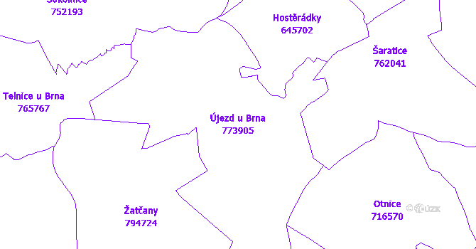 Katastrální mapa Újezd u Brna - přehledová mapa katastrálního území