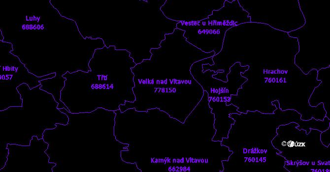 Katastrální mapa Velká nad Vltavou - přehledová mapa katastrálního území