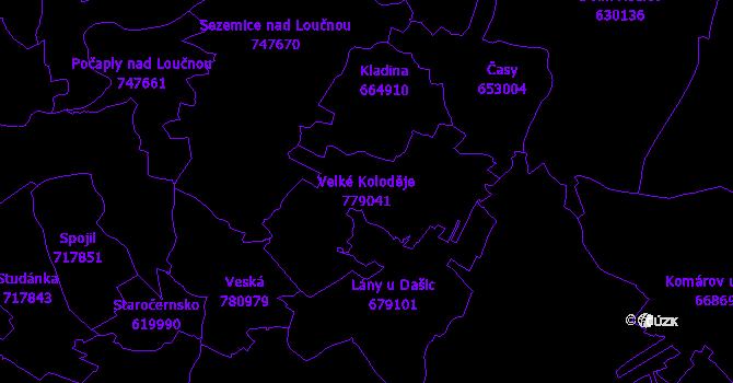 Katastrální mapa Velké Koloděje - přehledová mapa katastrálního území