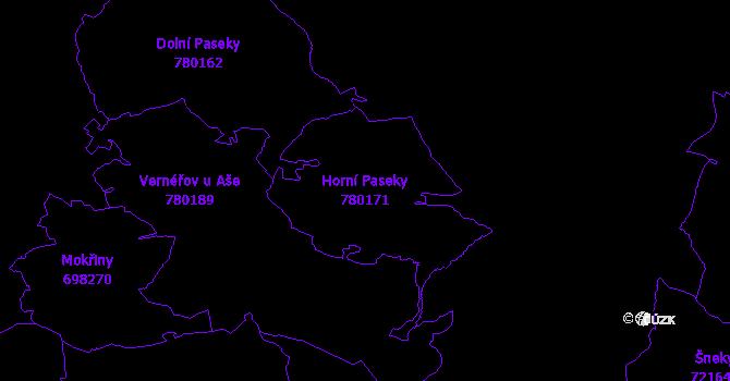 Katastrální mapa Horní Paseky - přehledová mapa katastrálního území
