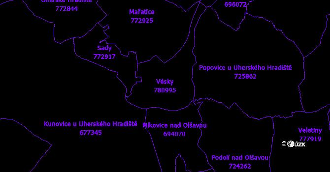 Katastrální mapa Vésky - přehledová mapa katastrálního území