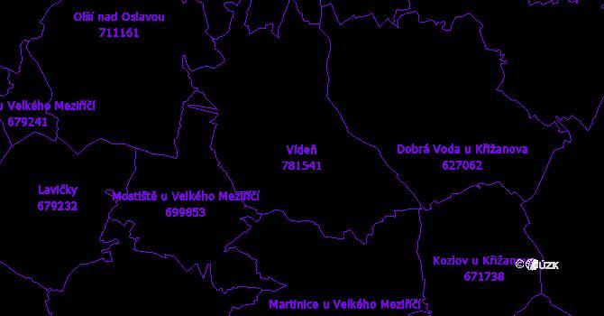 Katastrální mapa Vídeň - přehledová mapa katastrálního území