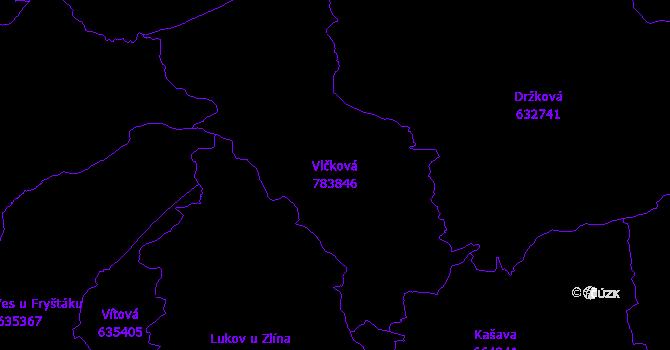 Katastrální mapa Vlčková - přehledová mapa katastrálního území