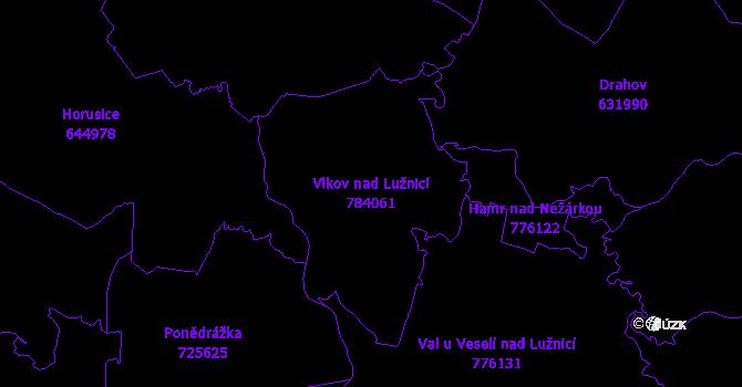 Katastrální mapa Vlkov nad Lužnicí - přehledová mapa katastrálního území