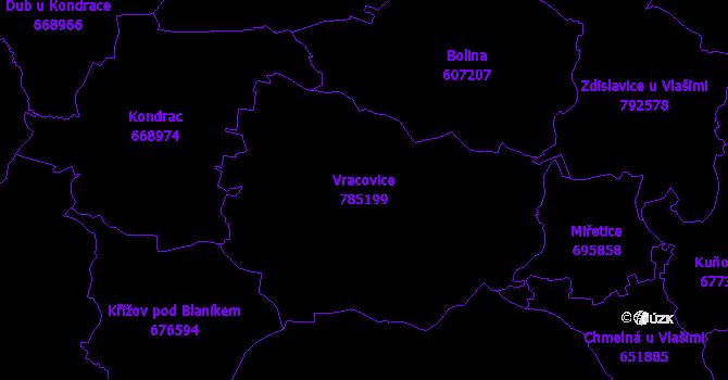 Katastrální mapa Vracovice - přehledová mapa katastrálního území