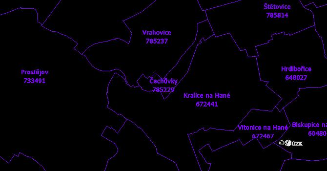 Katastrální mapa Čechůvky - přehledová mapa katastrálního území
