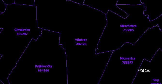 Katastrální mapa Vrbovec - přehledová mapa katastrálního území