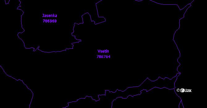 Katastrální mapa Vsetín - přehledová mapa katastrálního území