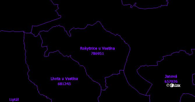 Katastrální mapa Rokytnice u Vsetína - přehledová mapa katastrálního území