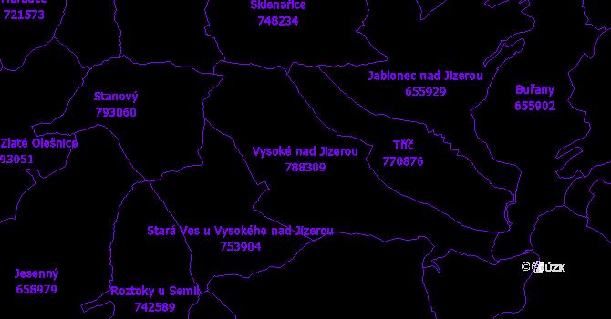 Katastrální mapa Vysoké nad Jizerou - přehledová mapa katastrálního území
