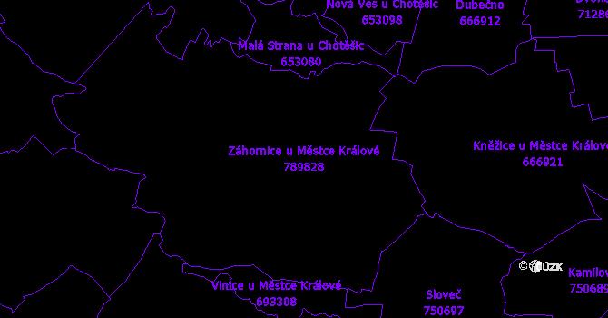 Katastrální mapa Záhornice u Městce Králové - přehledová mapa katastrálního území