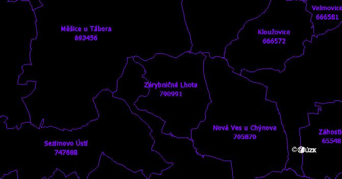 Katastrální mapa Zárybničná Lhota - přehledová mapa katastrálního území
