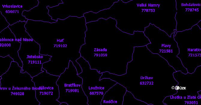 Katastrální mapa Zásada - přehledová mapa katastrálního území