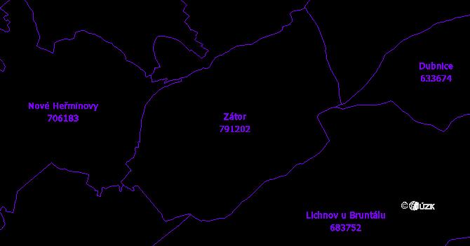 Katastrální mapa Zátor - přehledová mapa katastrálního území